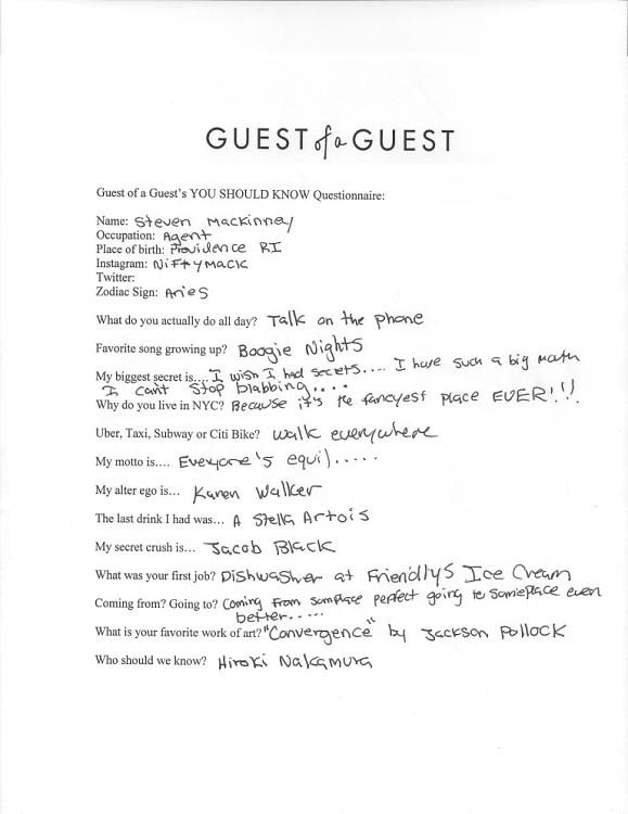 Steven Mackinney Questionnaire