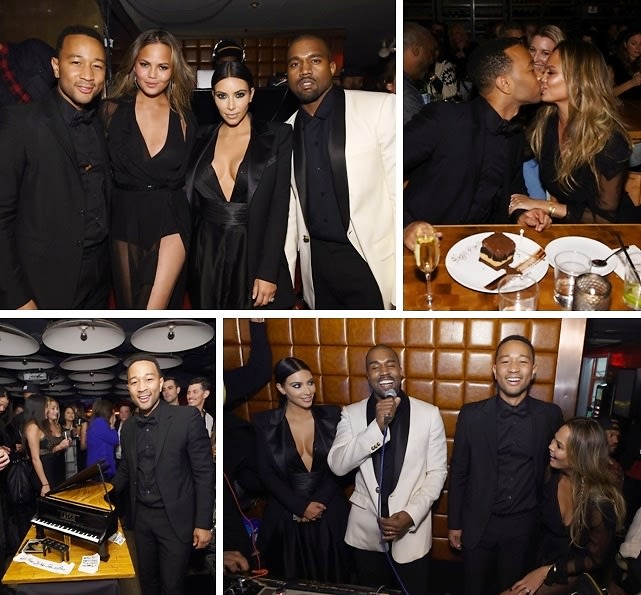 Kim & Kanye Party With Chrissy Teigen At John Legend's Birthday Bash In NYC