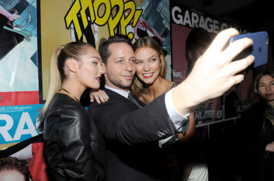 NEW YORK, NY - FEBRUARY 11:  (L-R) Candice Swanepoel, Derek Blasberg and Karlie Kloss attend the Marvel and Garage Magazine New York Fashion Week Event on February 11, 2016 in New York City.  (Photo by Craig Barritt/Getty Images)