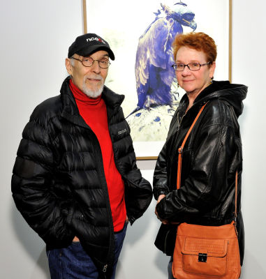 elaine lorenz in Eagle Hunters exhibition opening at Joseph Gross Gallery