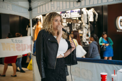 alex on-the-mic in Inside The Prom Preview Runway Show At The Shops At Montebello