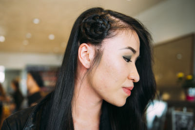 gabrielle chung in Pre-Coachella Beauty Lounge at Brighton Salon with the #RIOTGirls