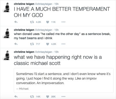 chrissy teigen in The Funniest Celebrity Reactions To Last Night's Presidential Debate