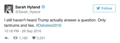 sarah hyland in The Funniest Celebrity Reactions To Last Night's Presidential Debate