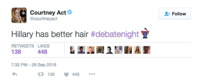 courtney act in The Funniest Celebrity Reactions To Last Night's Presidential Debate