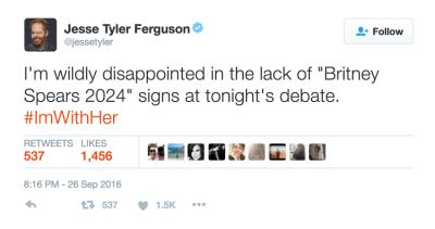 jesse tyler-ferguson in The Funniest Celebrity Reactions To Last Night's Presidential Debate