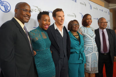 Co-Founder and COO of The GEANCO Foundation, Afam Onyema, posing with family and actor Benedict Cumberbatch