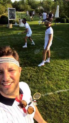 derek blasberg in Lauren Santo Domingo's All-White Hamptons Badminton Soirée