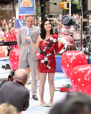 Photo Of The Day: Katy Perry Shows Off Her Dicey Costume To Matt Lauer