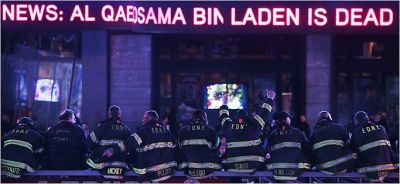 NYFD Fire Fighters Celebrate in Time Square