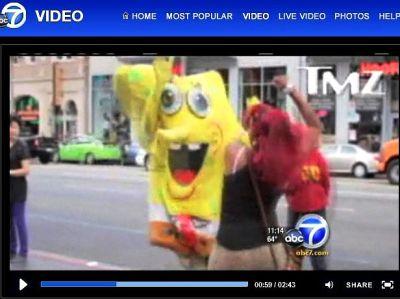 Isn't It Weird How This Absurd Local News Report On A Hollywood Blvd SpongeBob Beatdown By Two Women Is NOT A Joke?