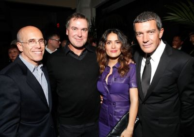 Jeffrey Katzenberg, Chris Miller, Salma Hayek, Antonio Banderas