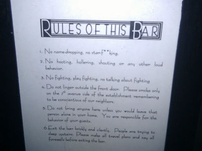 Quiet Bar Rules