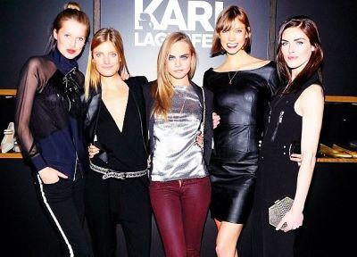 Toni Ward, Constance Jablonski, Cara Delevingne, Karlie Kloss , Hilary Rhoda