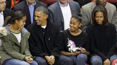 Malia Obama, Barack Obama, Sasha Obama, Michelle Obama