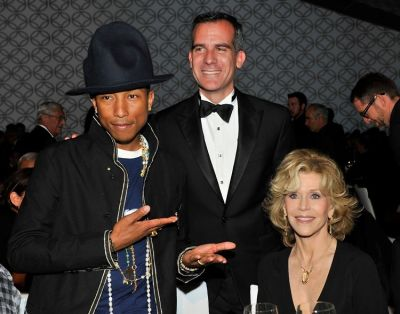 Pharrell Williams, Eric Garcetti, Jane Fonda