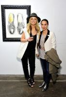 L-R: Artist Elizabeth Waggett and Kristina Lopez attend the Art LeadHERS exhibition opening at Joseph Gross Gallery in New York, NY on May 5, 2016.  (Photo by Stephen Smith)