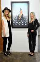 L-R: Artists Elizabeth Waggett and Anne Faith Nicholls attend the Art LeadHERS exhibition opening at Joseph Gross Gallery in New York, NY on May 5, 2016.  (Photo by Stephen Smith)