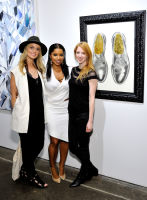 L-R: Artist Elizabeth Waggett, Mahonda Tifrere and Luci attend the Art LeadHERS exhibition opening at Joseph Gross Gallery in New York, NY on May 5, 2016.  (Photo by Stephen Smith)