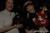 Gladys Delgado-Garced and Pierre, In a Doggone Couture Celebration party hat and bone bib.