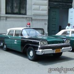 Vintage Police Cars Patrol Lower Manhattan