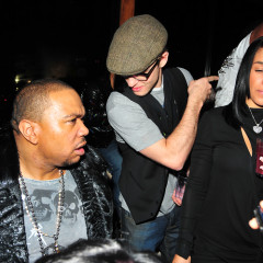 Timbaland And Timberlake Catch Up At Hudson Terrace