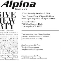 Today's Giveaway: VIP Access For You And A Friend To The Alpina Watches Private Party At Boudoir + Their $2,000 Gift Bag