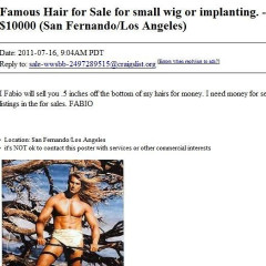 Craigslist Treasures: Get A ½ Inch Of Fabio's Hair For Just $10k
