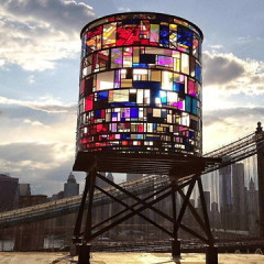 Brooklyn Adds A Tom Fruin Stained Glass Watertower To Its Skyline