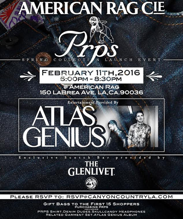 Drink Glenlivet + Watch Atlas Genius Perform At PRPS x American Rag Pre Grammy Event