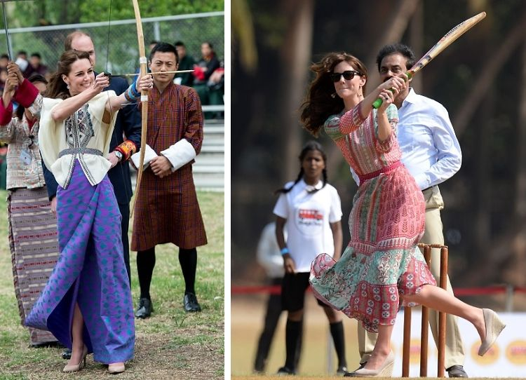 10 Photos Of Kate Middleton Doing Bizarre Things While Looking Fabulous In India & Bhutan
