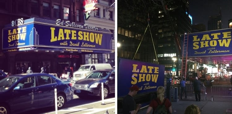 The End Of An Era: The Late Show Sign Comes Down