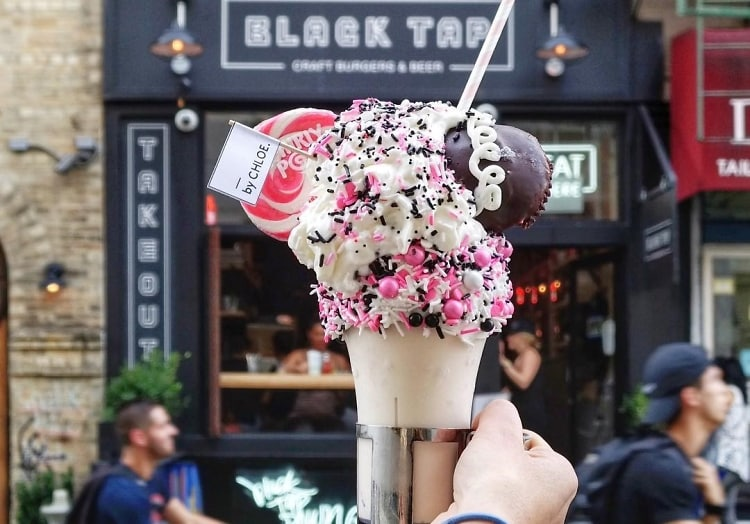 Black Tap Milk Shake from 20 of the Best Freak Shakes via Kara's Party Ideas