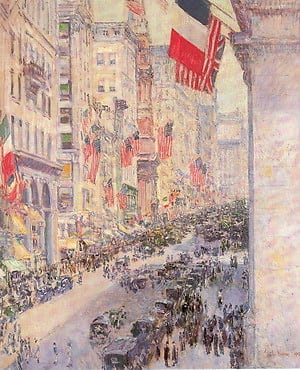 """Up the Avenue from Thirty-Fourth Street, May 1917,"" by Childe Hassam"