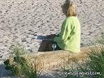 old woman on southampton beach