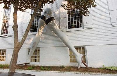 15 foot leg sculpture outside Sag Harbor church