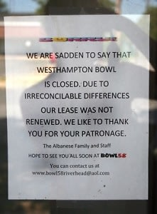 Westhampton Bowl closes