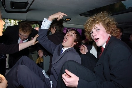 Rockin out in prom limo