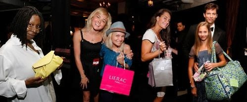 "Host Whoopi Goldberg with Carlos Falchi clutch bag; ""Legally Blonde"" star Laura Bell Bundy and ""Pushing Daisies"" star Kristen Chenowith at Lierac Paris; ""Lipstick Jungle"" Brooke Shields at Pureology; Harry Connick Jr. and daughter Georgia with Vera Bradley duffle-bag;"