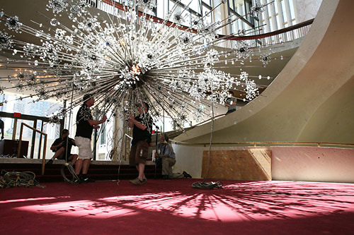The Swarovski starburst chandeliers have been completely restored in the Met
