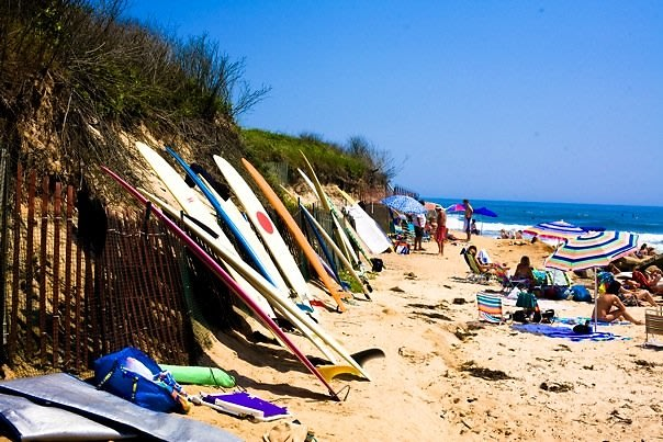 surf boards and beaches