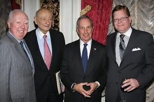 James Gill, Ed Koch, Mayor Michael Bloomberg, Don Lents