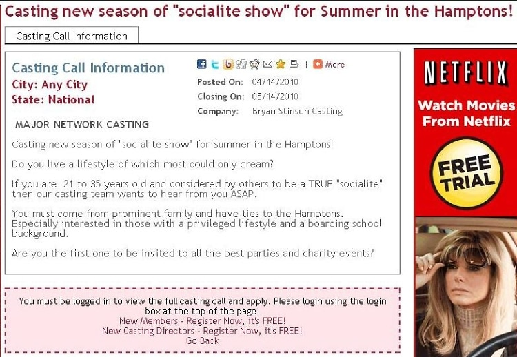 High Society Casting Notice For Season 2 In The Hamptons