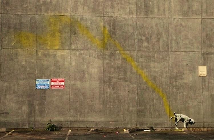 Banksy Peeing dog