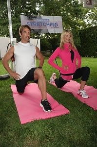 Rob Nessler and Christie Brinkley stretch it out