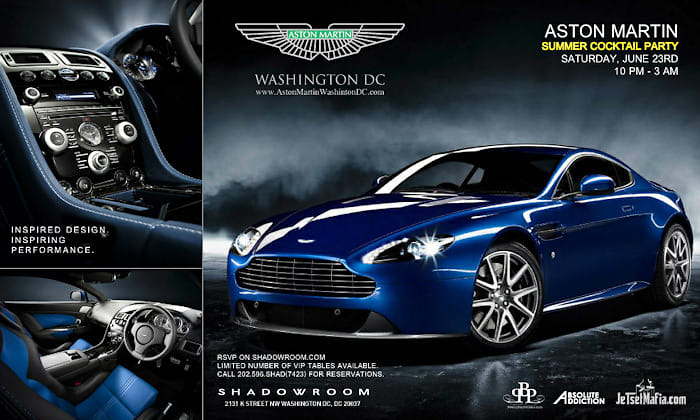 This Saturday Aston Martin Summer Cocktail Party At Shadow Room - Aston martin washington dc