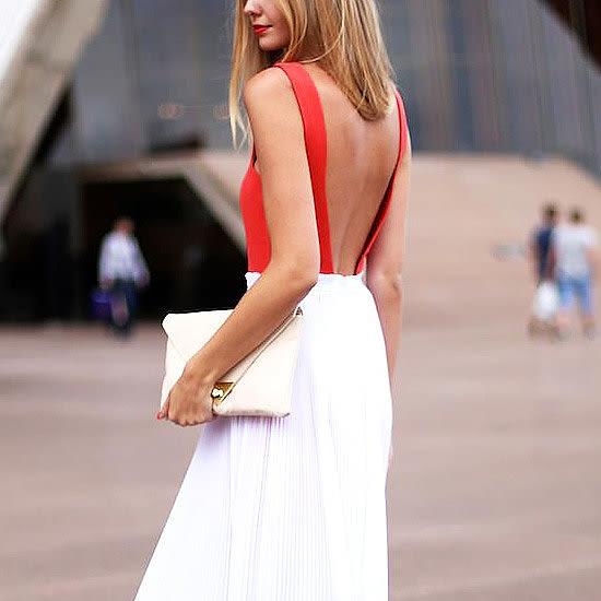 backless dress street style