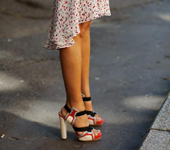 Colorblocked heels