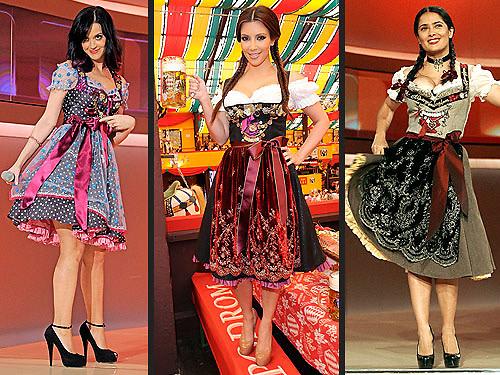 Katy Perry, Kim Kardashian, Salma Hayek Dirndl