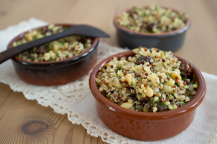 Quinoa with Garlic, Pine Nuts, and Raisins